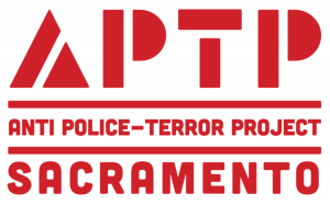 logo for Anti Police Terror Project in red stenciled letters