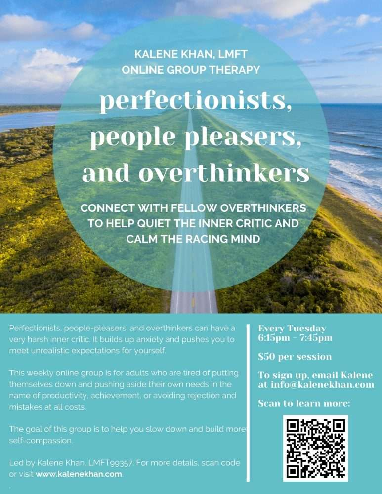 perfectionists, people pleasers, and overthinkers therapy group