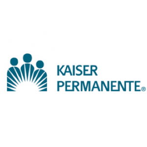 Kaiser Logo with there people to the left with rays like sun in front of them