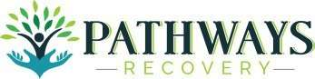 Logos for Pathways recovery center with image of a person raising arms surrounded by foliage to look like a tree in bloom