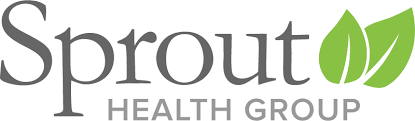 Logo for Sprout Health group with two leaves to the right of the words Sprout Health Group