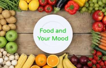 Veggies and Plate with words Food and Your Mood