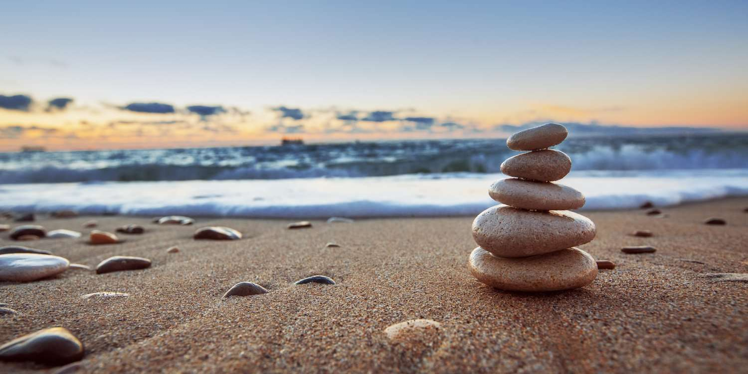 Stones stacked on a beach